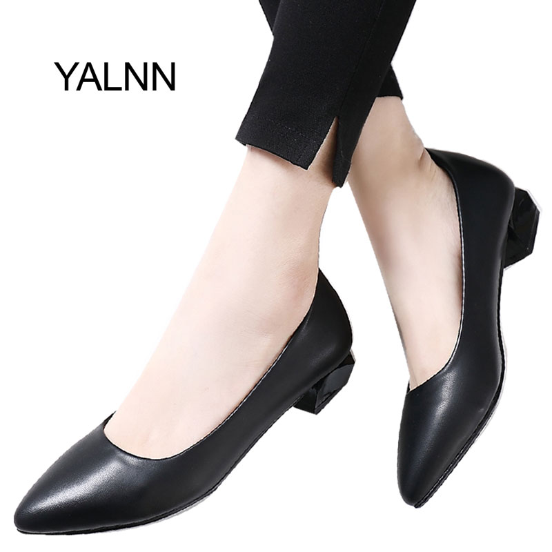 YALNN Spring Slip-on Basic Women Pumps Shoes 3CM Low Square Heels Pointed Toe for Concise Dress Shoes Women shofoo handmade fashion women pointed toe low heels leopard pumps slip on shoes woman dress