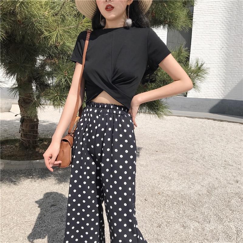 2018 Women Two Piece Set Casual Summer Polka Dot Women 2 Piece Set Top and Pants Cheap Clothes for Women 5