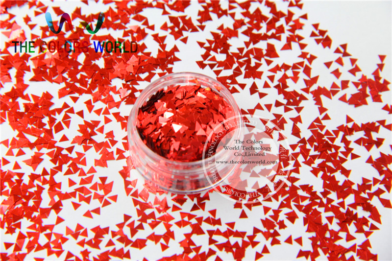 Solvent Resistant  Red  Color Triangle  Shape Glitter  for Nail Polish and DIY decoration 1Pack =50g