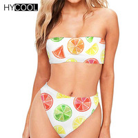 HYCOOL Bikini Push Up Bathing Suit Women Cartoon Fruit Swimsuit Cute Swimsuit High Waist Swimsuit Summer Swimsuit Bikinis Mujer