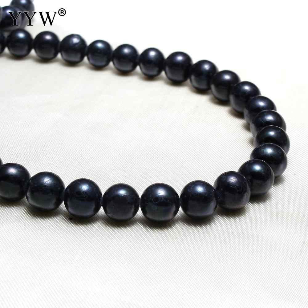 """Klasy A 9-10mm czarny okrągły barokowy naturalna perła słodkowodna koraliki luźny koralik 14 """"dla DIY kobiety elegancki naszyjnik bransoletka biżuteria"""