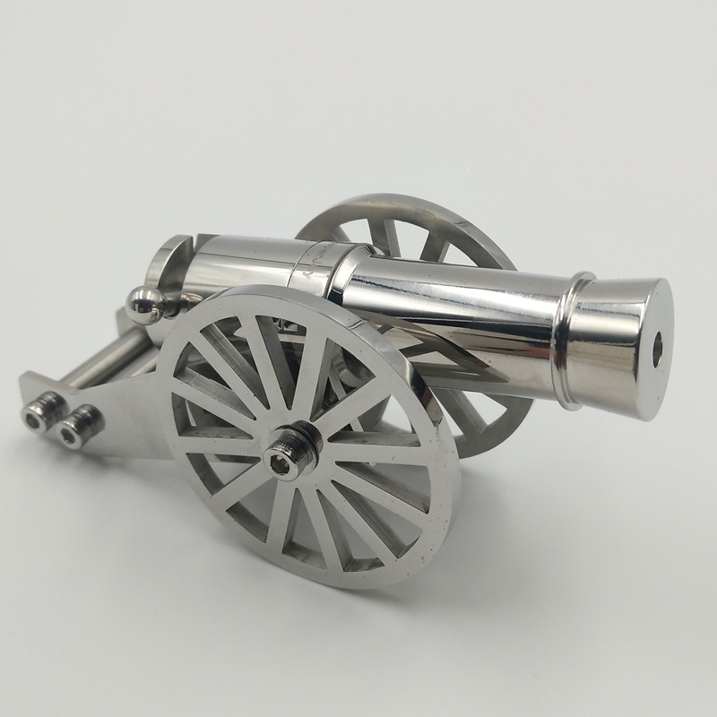 Howplay stainless steel miniature napoleon cannon metal naval desktop model artillery kit for collection military weapon