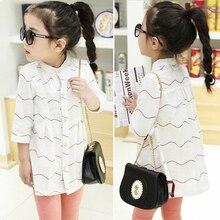 2-7y, 2016 New Summer Girls Korean Style Shirt Kids Cotton Blouse Baby Shirt Kids Long Sleeve Shirt