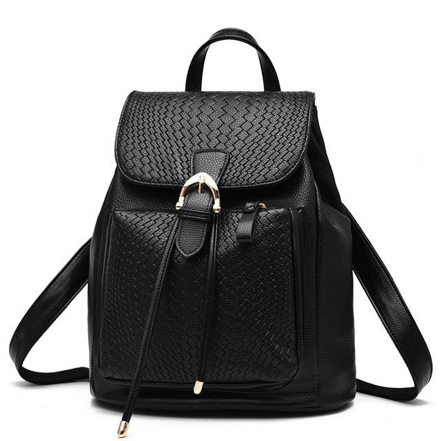 Knitting Fashion Women Backpack High Quality Pu Leather Backpacks for Teenage Girls Female School Shoulder Bag Bagpack mochila
