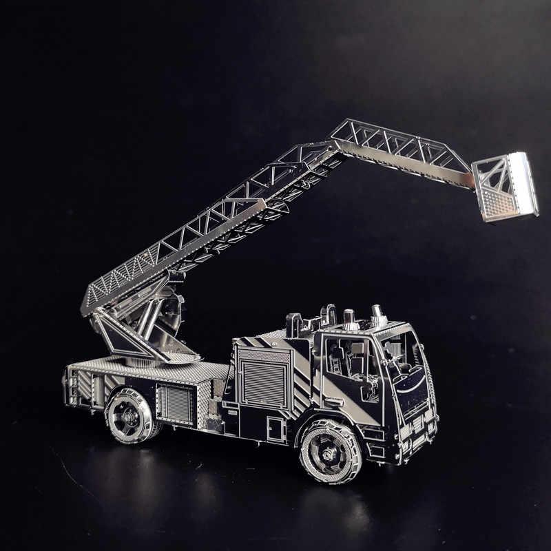 BRANDWEERWAGEN MET LADDER 3d puzzel auto speelgoed metalen model 2 vellen schaal 1: 70 hk nanyuan DIY Assembleren cadeaus voor vriendje