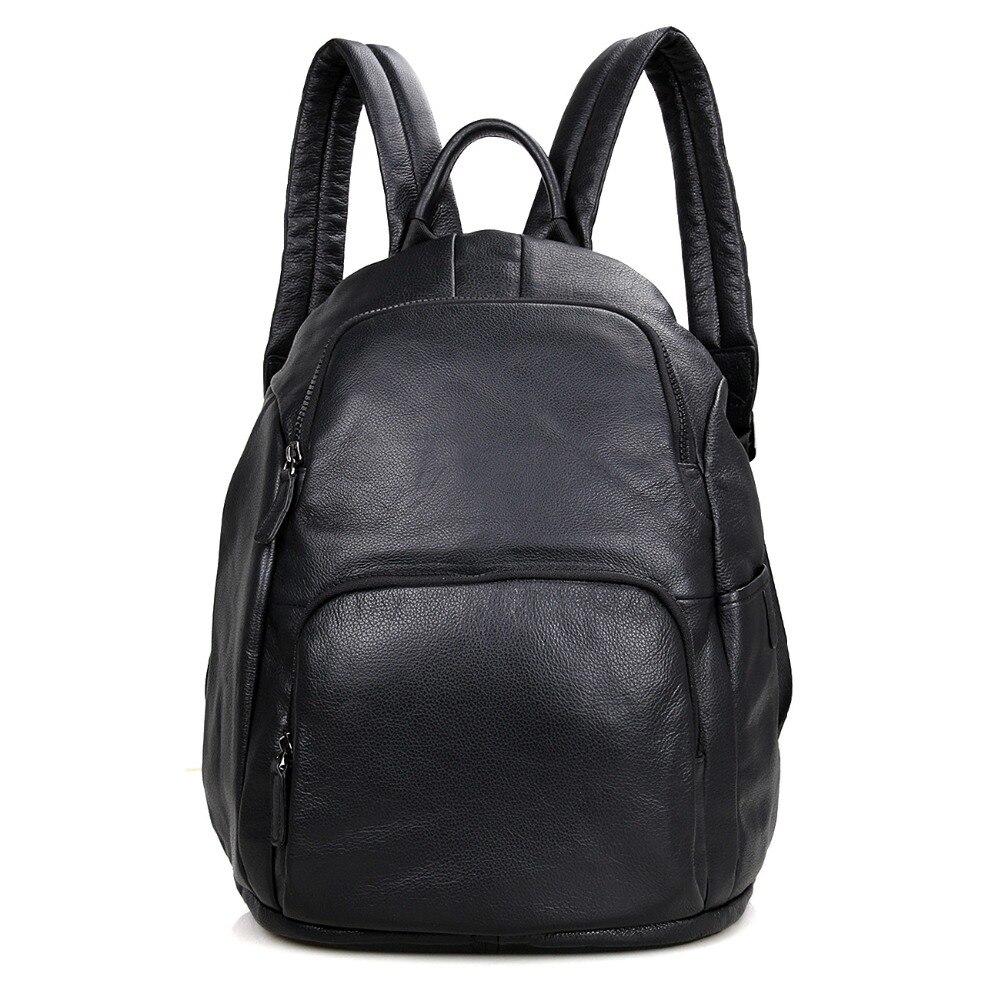 J.M.D Black School Backpack Real Cow Leather Men
