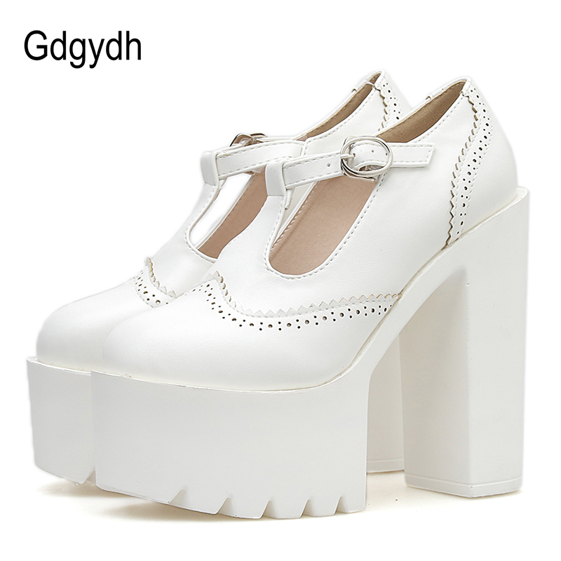 Gdgydh Women Pumps High Heels Platform Rubber Sole Black Leather Mary Janes Shoes Woman Spring Autumn
