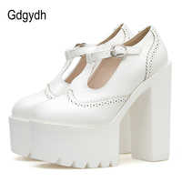 Gdgydh Women Pumps High Heels Platform Rubber Sole Black Leather Mary Janes Shoes Woman Spring Autumn Party Shoes Drop Shipping