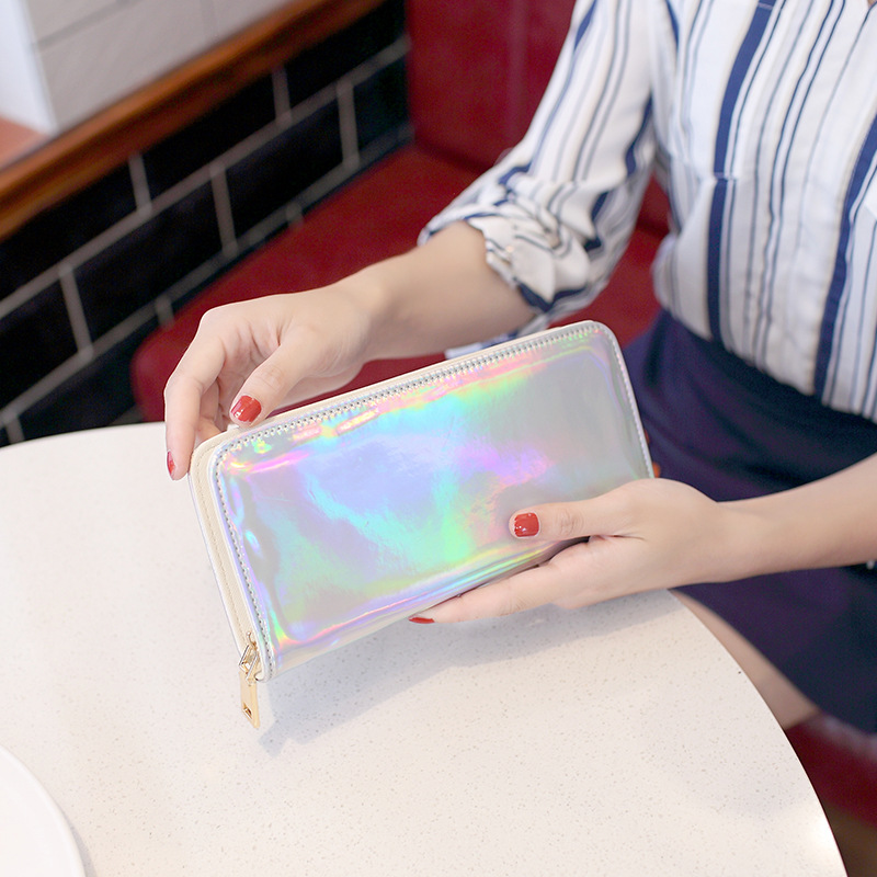 Korean Fashion Purses Women Holographic Long Wallet Purse Females Clutch Card Holders Money Cash Bag For Coin Purse Pocket Case fashion girl change clasp purse money coin purse portable multifunction long female clutch travel wallet portefeuille femme cuir