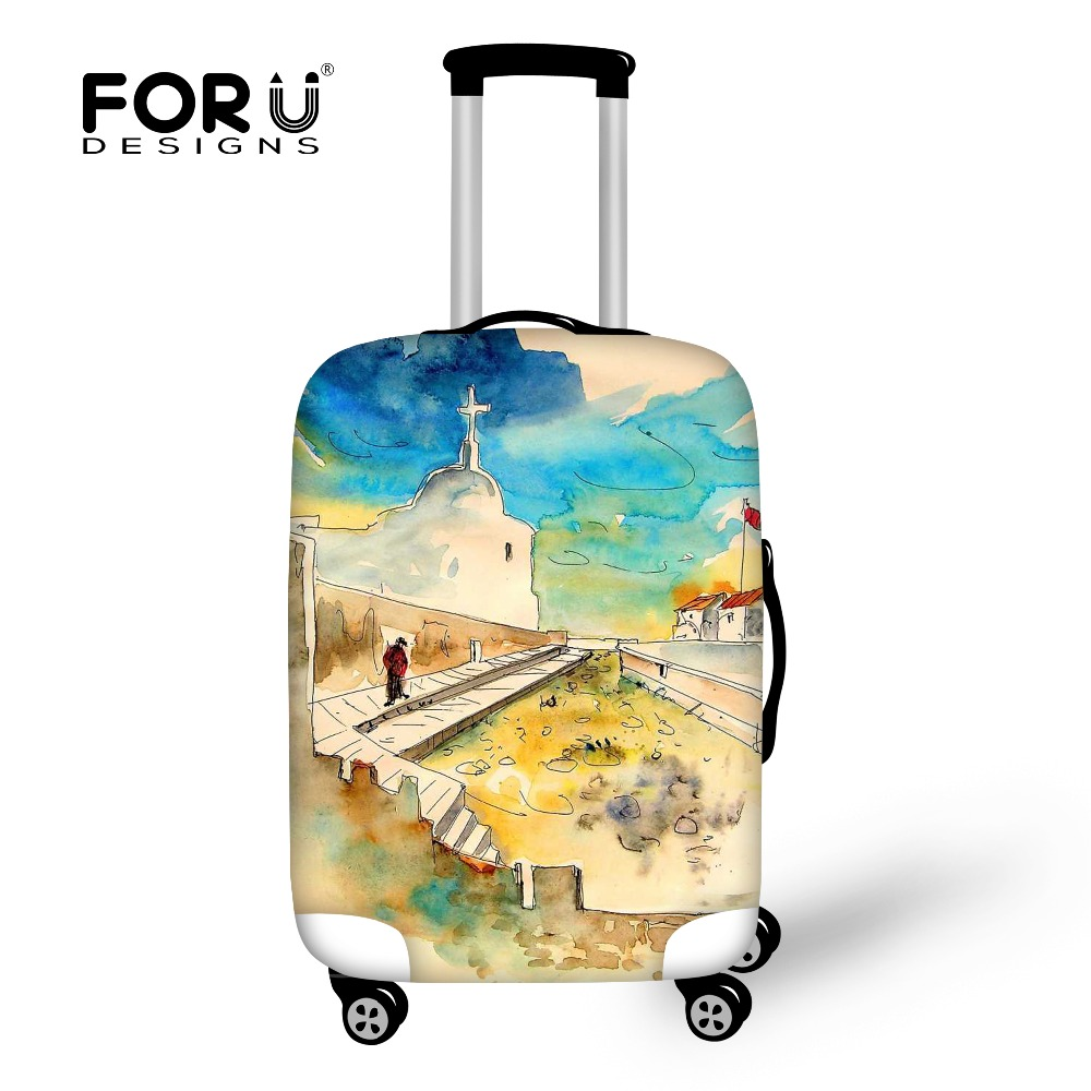 Thick Travel Luggage Protective Cover Unique Painting Print Waterproof Rain Cover for 18-30inch Suitcase Case Travel Accessories