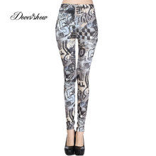 e5e44f51cb5d30 Slim Women Seamless Leggings Elastic Gray Letters Print Fitness Ankle  Pencil Pants Stretch Push up Workout Skinny Trousers