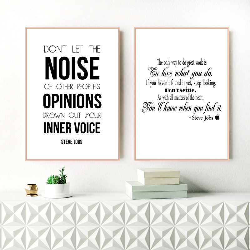 Steve Jobs Inspiring Quote Canvas Art Print and Poster Modern Black and White Minimalist Canvas Painting Office Wall Decor
