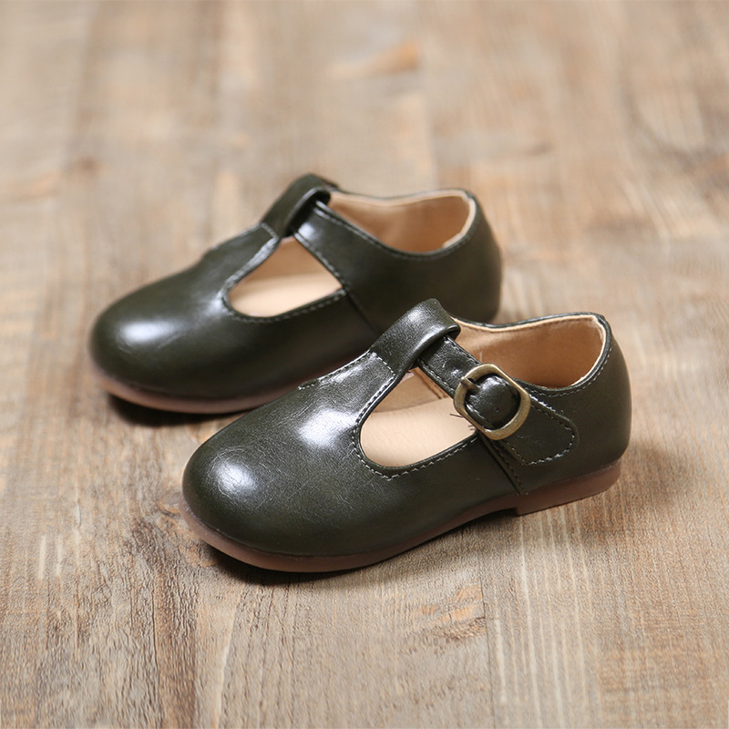 Baby Boy Girl Mary Jane T Bar Leather Soft Sole Dress Shoes Size 3 4 5 Cinnamon