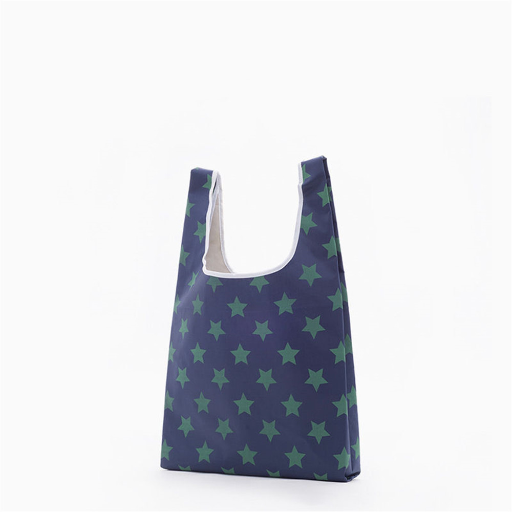 Image 2 - Foldable Polyester Shopping Bag Supermarket Print Eco friendly Reusable Portable Shoulder Handbag Travel Grocery Storage Bag-in Bags & Baskets from Home & Garden