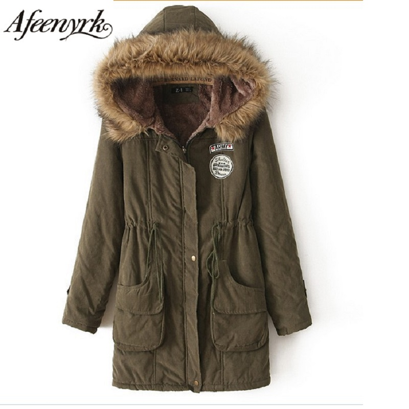 Afeenyrk 2017 New Winter Jacket Women Parka Casual Outwear Hooded Military Fur collar Coat Coats Female Manteau Female Plus Size 4 tank with 8cartridge bulk continuous ink supply system for roland mutoh mimaki wit color solvent printer machine