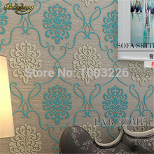 hot deal buy floral wallpapers blue 3d wall covering flower tv bed room embossed textured wallpaper luxury .papel de parede floral beige 10m.