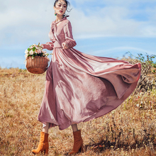 цены Retro Velvet Dress Elegant Party Fit and Flare Winter Dresses Pink Gothic Luxury Dress Silk Velvet Vintage Lantern Sleeve