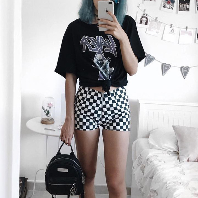 New 2018 Women'S Shorts Black And White Checkerboard Pattern High Waist Casual Female Shorts