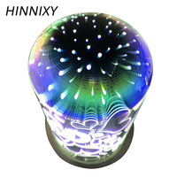 Hinnixy Fireworks Glass Night Light Cool Star Love 3D Magic Atmosphere Bedroom Decor Desk Lamp Independence Day Creative Gift