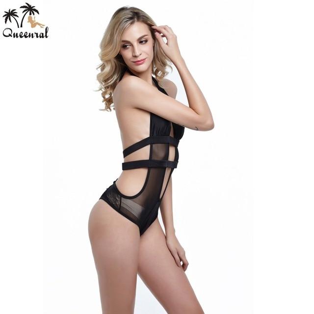0be18bb154c Queenral Swimwear one piece bra Women sexy transparent lace big size thin  section bra set underwear