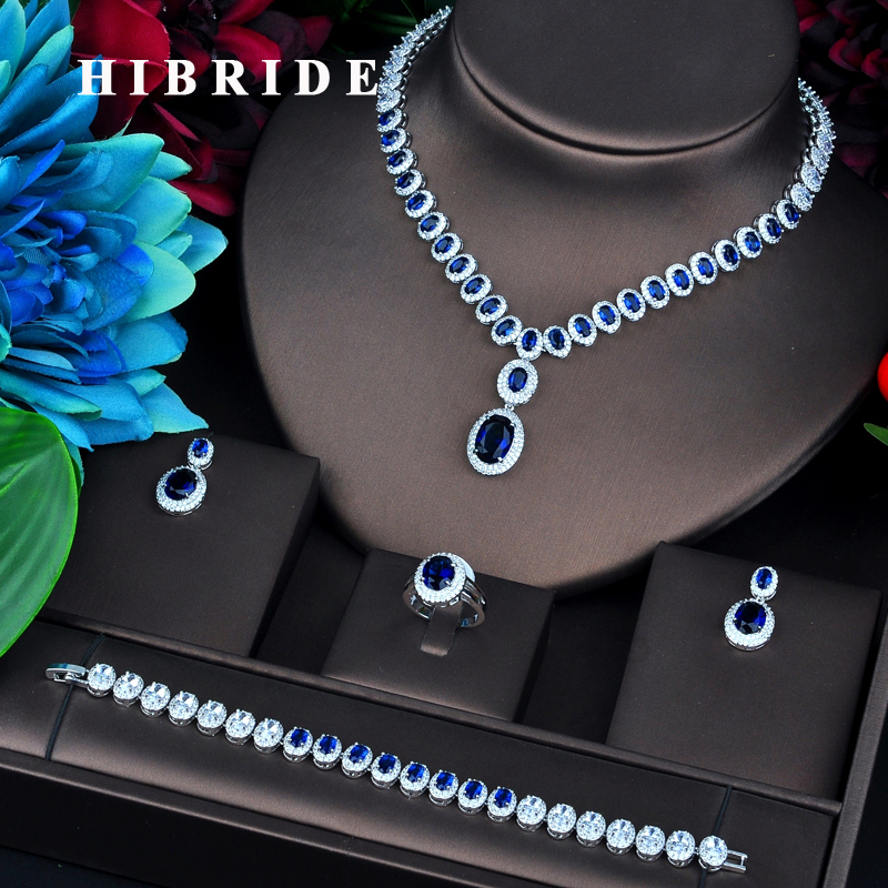 HIBRIDE Brilliant Round Cubic Zircon Pendant Jewelry Sets For Women Necklace Earring Ring Bracelet Jewelry Accessories N-743 charming rhinestoned round bracelet with ring for women