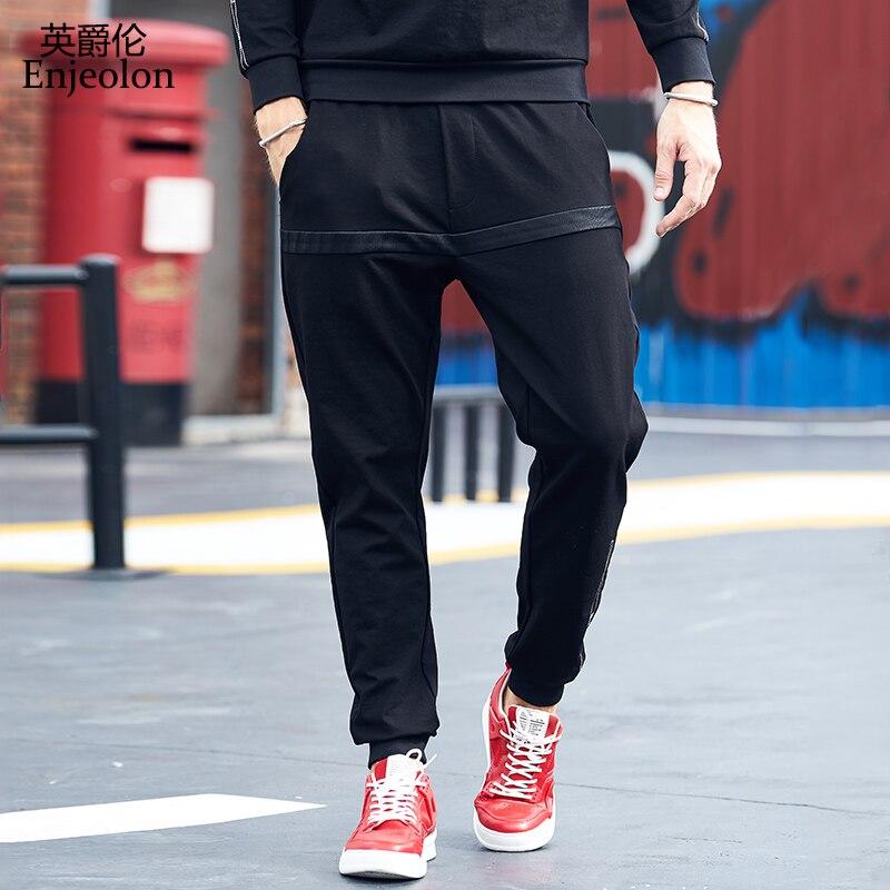 Enjeolon Brand Spring Long Straight Trousers Pants Men Fashion Black Sweatpants Men Quality Thick Casual Pants Males KZ6323