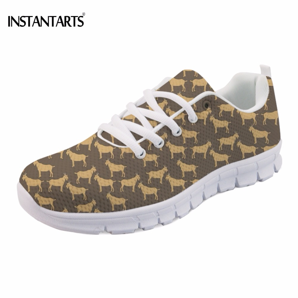 INSTANTARTS Cute Animal Goat Sheep Printing Girl Sneakers Stylish Breathable Comfortable Mesh Flats Shoes Lace-up Walking Flat instantarts cute animal husky cat head print women fashion flats shoes air mesh sneakers for ladies lace up light weight shoes
