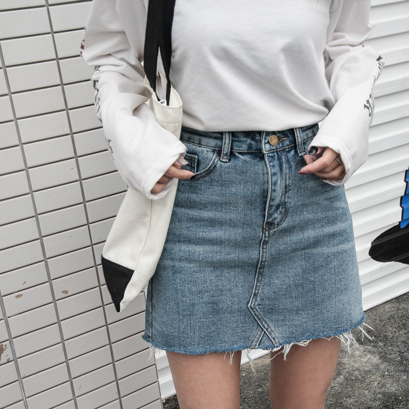 Summer Fashion High Waist Skirts Womens Pockets Button Denim Clothing Female Saias 2018 New All-matched Casual Jeans Skirt