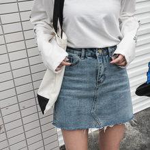 d3b5a24f88c Летняя мода высокая талия юбки женские Карманы Кнопка Джинсовая одежда  женская Saias 2018 новый все совпадающие джинсовая юбка к.