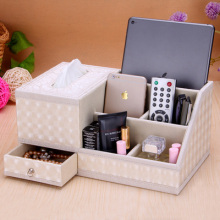 Multifunction leather tissue box napkin pumping carton Continental Creative Desktop storage remote control