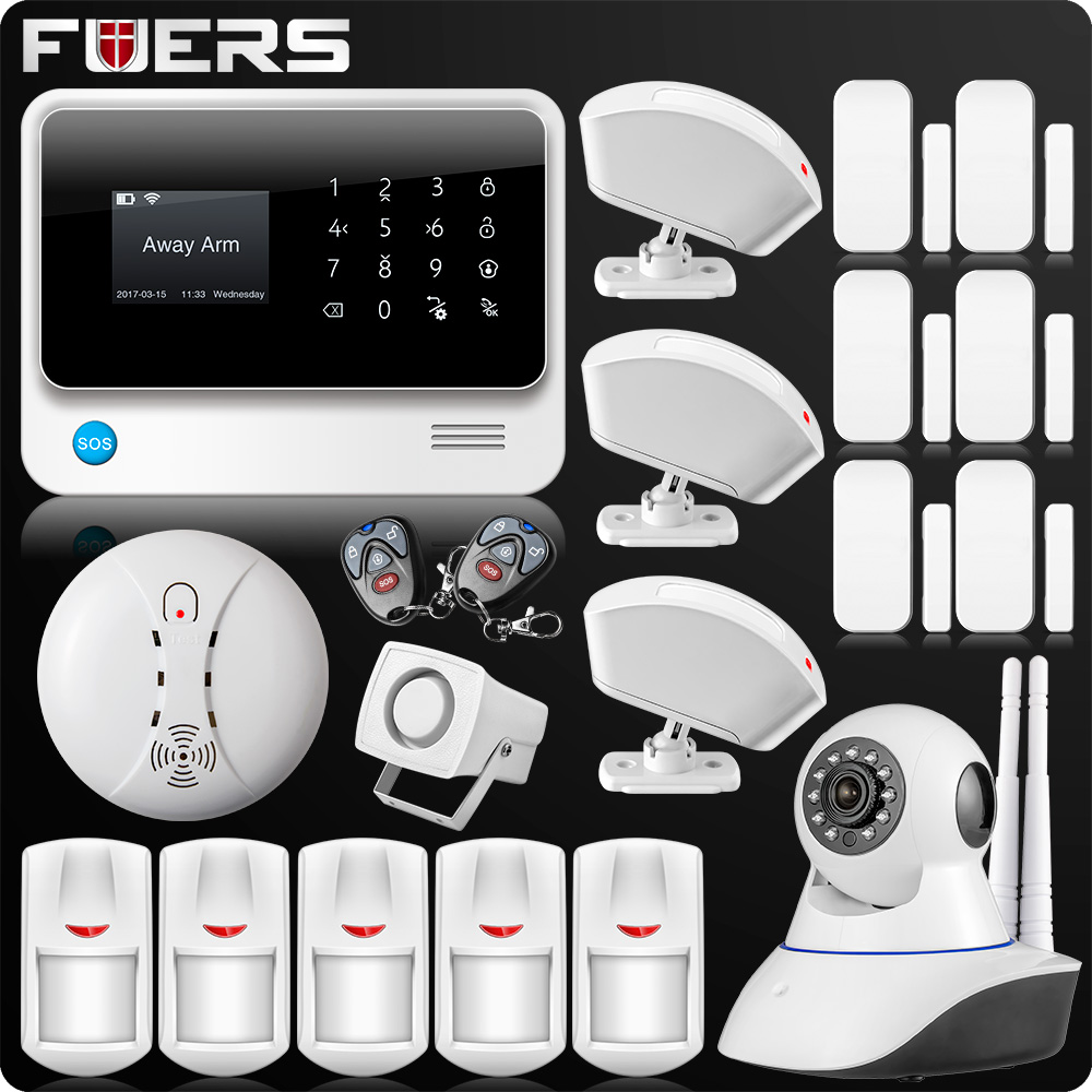 2019 G90B Plus 2.4G WiFi GSM Home Alarm GPRS SMS Wireless Home House Security Intruder Alarm System IP WiFi Camera Smoke Sensor title=