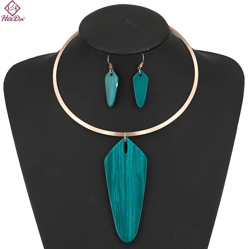 Heeda 2018 New Resin Pendant Necklace Earring Set Women Spring Kpop Simple Collar Valentines Day Gift Lady Graceful Bijoux Femme