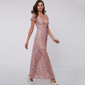 Image 2 - Tanpell vestido de noche rosa hasta el tobillo, sexy, de encaje