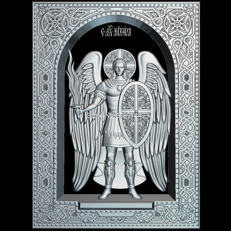 Saint_1 Mihail (Arhanghelul) Frame 3D Model Relief Figure STL Format Religion 3d Model Relief  For Cnc In STL File Format
