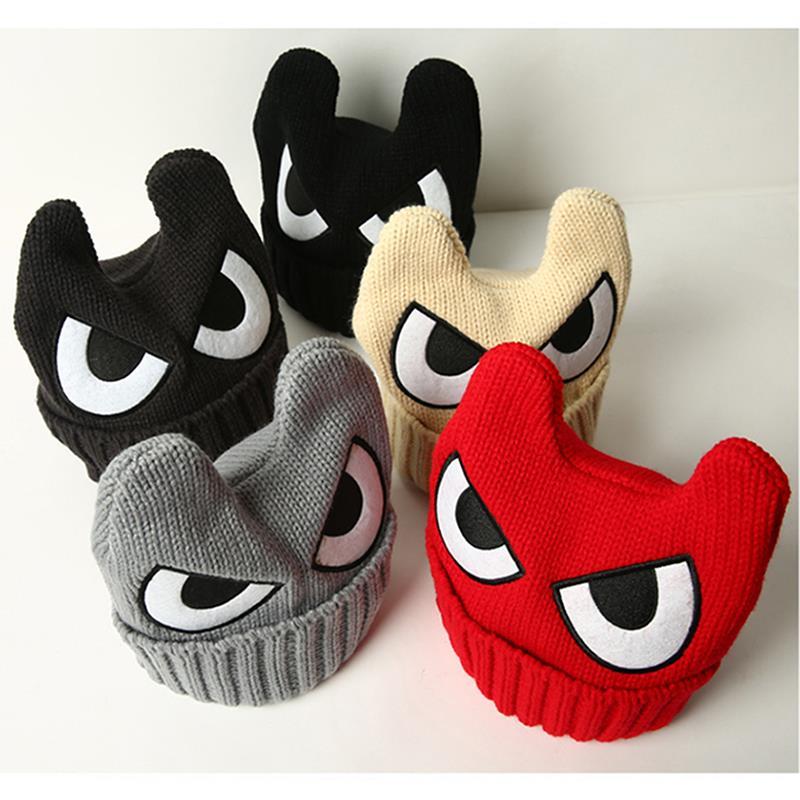 Hot Sale Boys winter hats Solid Double Eye pointy warm hats for kids children boys wool knitted hats gorro lana