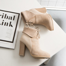Women's Ankle Boots Winter Genuine Leather Point Toe High Heel Front Lace Up Sexy Martin Boots Korean Style Booties Pumps Shoes