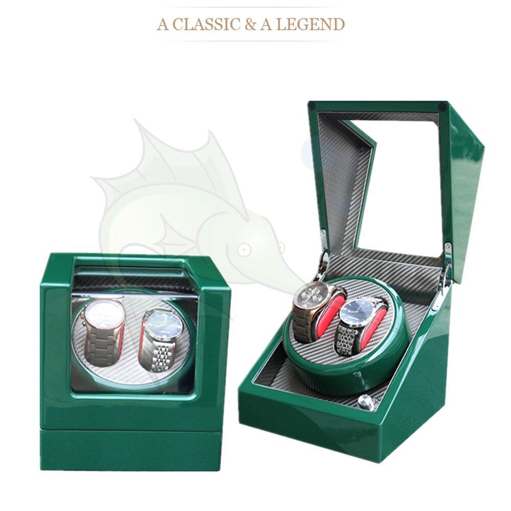 Hoge Licht Groene Houten Horloge Winder Doos 5 Modi Carbon Fibre Binnen Automatische Horloge Winder-in Horloge Haspel van Horloges op  Groep 1