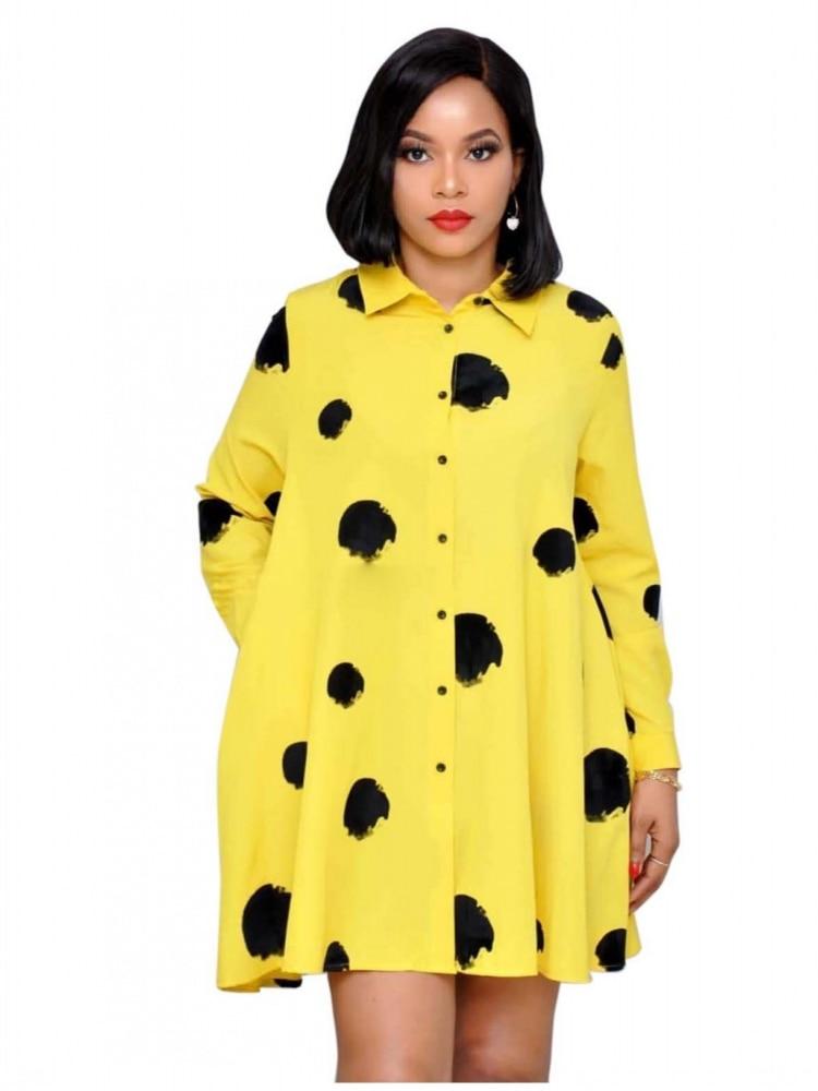 Spring Autumn Women Drees 2019 Doodle Dot Print Shirt Office Dresses Lady Loose Long Sleeve Knee Length Turn Down Collar Drees