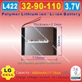 [L422] 3.7V,4800mAH,[3290110] Polymer lithium ion / Li-ion battery for tablet pc,E-BOOK;POWER BANK