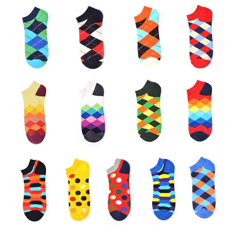 Summer Trendy Happy Socks Cotton Boat Man Socks Funny Diamond Gradient Dot Pattern Harajuku Ankle Socks Eurpoe Fashion Casual