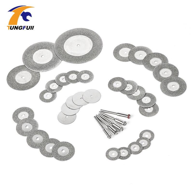 Tungfull lame de scie diamant meule ensemble d'outils rotatifs roue scie circulaire 38 en 1 Diamant disque de coupe pour dremel outils
