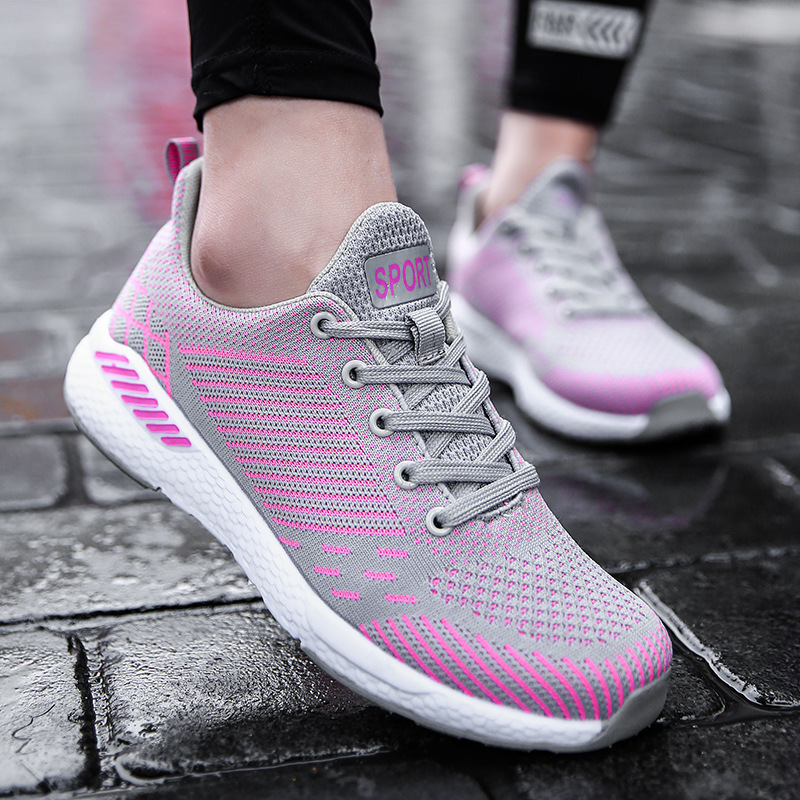 2018 Breathable Casual Shoes for Women Fashion Lace Up Couple Mesh Walking Shoes Outdoor Lightweight Ladies Sneakers Big Size