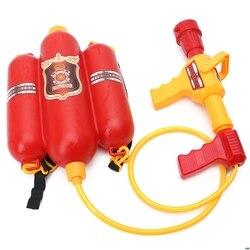 Crianças bombeiro mochila bico pistola de água praia ao ar livre brinquedo extintor soaker