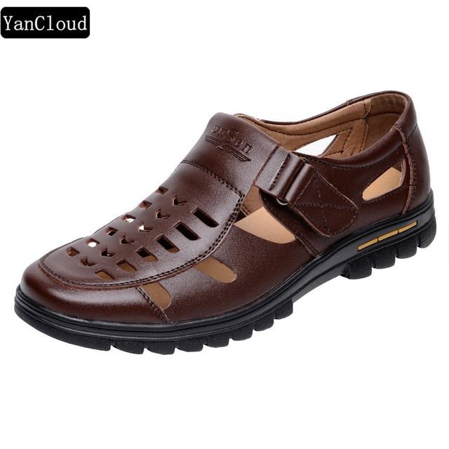 Men's Summer Shoes Cow Split Leather New 2019 Men Sandals Hollow Platform Business Sandal Driving Moccasins