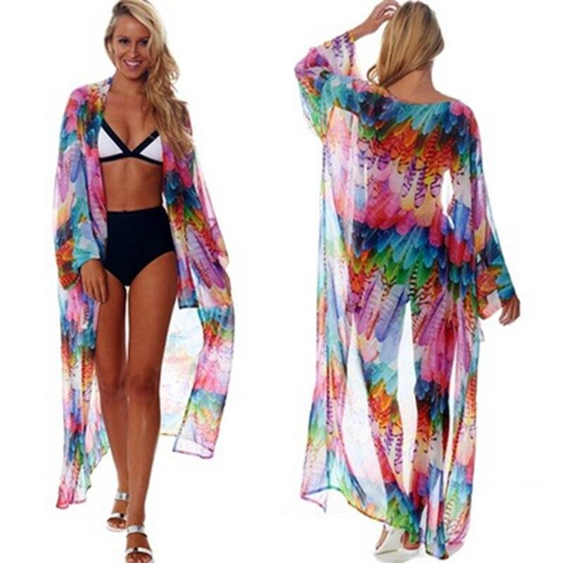 Women Sexy Chiffon Bikini Beach Cover-up Swimsuit Covers up Bathing Suit Summer Beach Wear Cardigan Swimwear Beach Dress Tunic