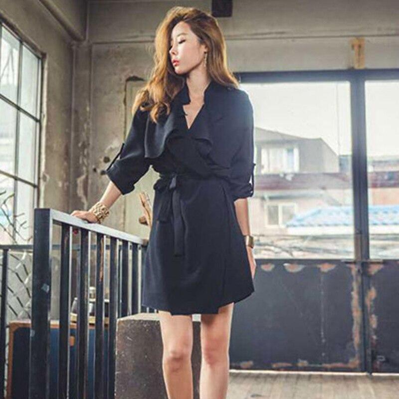 Taille Tempérament De Britannique Longue vent Mince Noir Style Printemps Nouveau V kaki Version Femelle Manteau Coréenne Col Robe Coupe Mode Ol 5IqEwZEaF