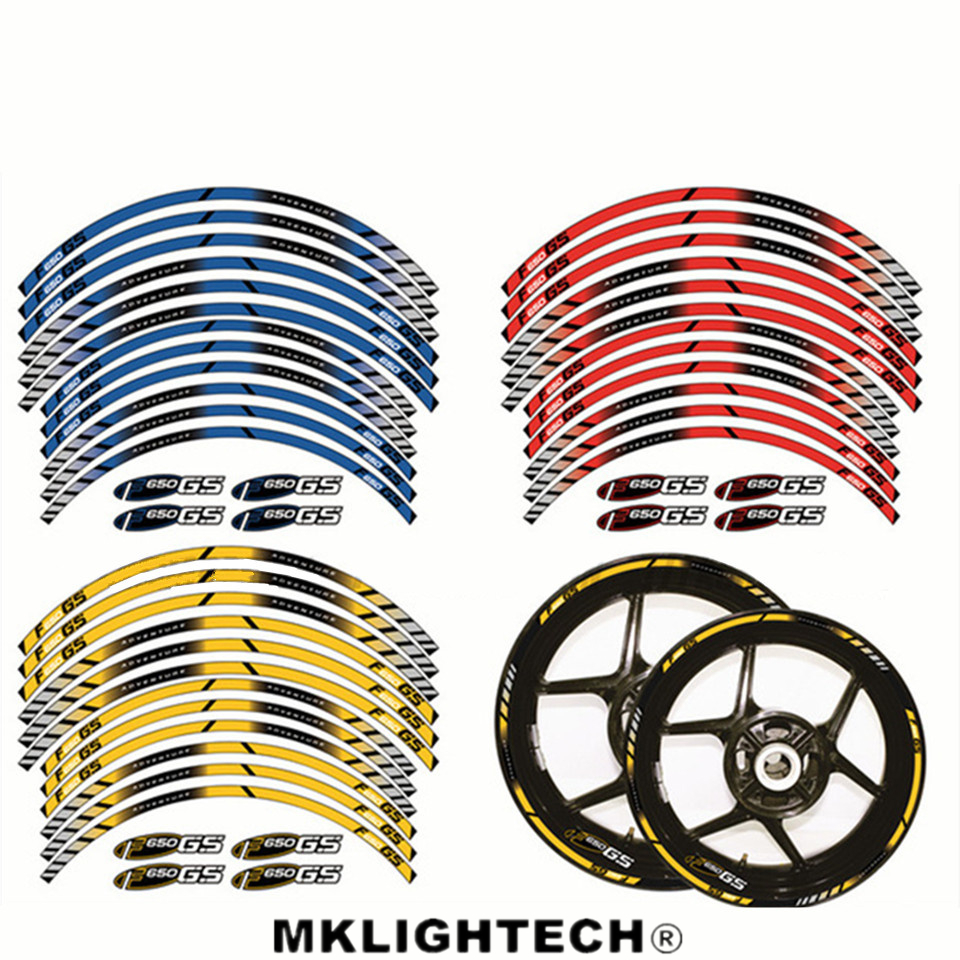 12 X Thick Edge Outer Rim Sticker Stripe Wheel Decals Motorcycle FIT BMW F650GS F 650GS ADVENTURE in Decals Stickers from Automobiles Motorcycles