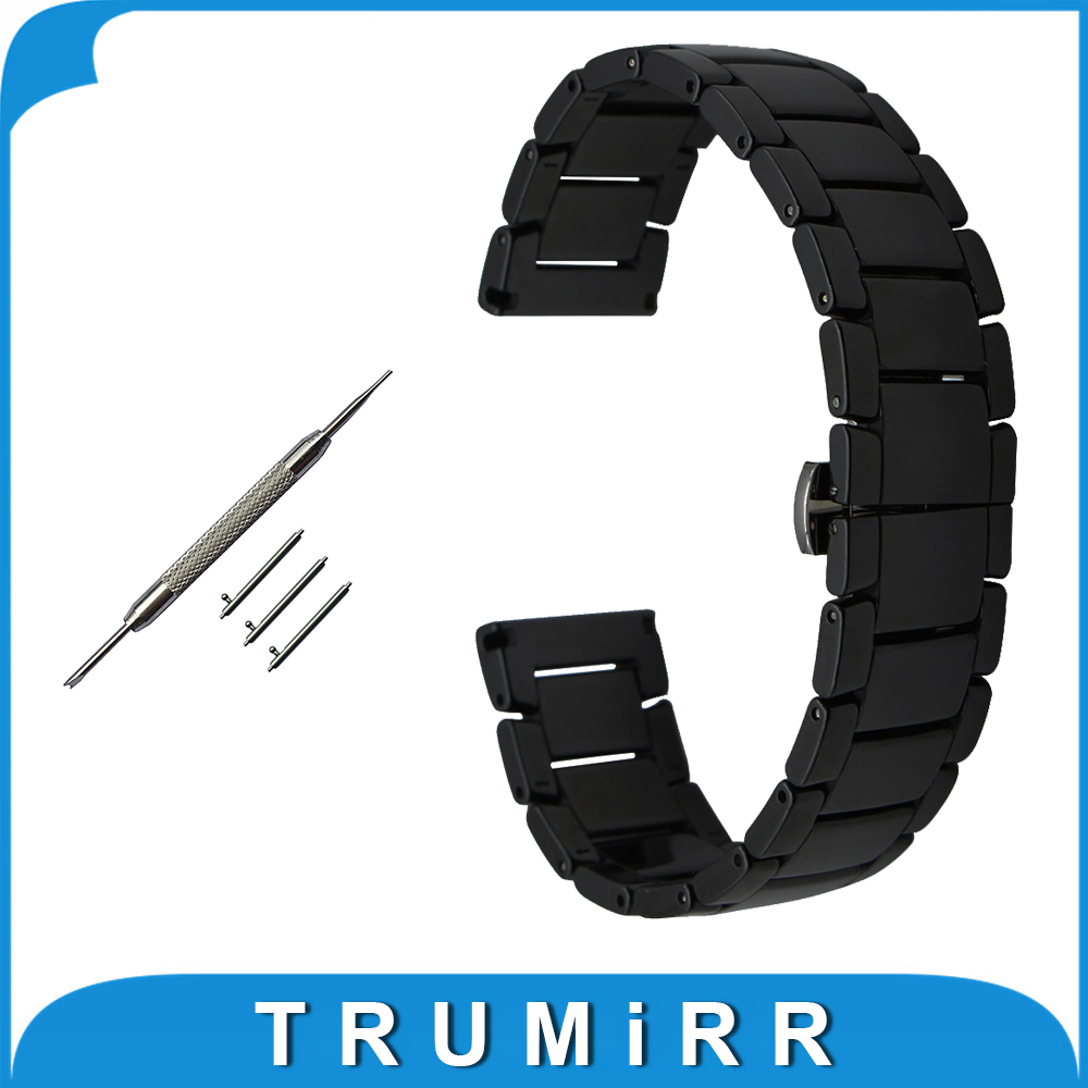 22mm Quick Release Ceramic Watch Band Universal Porcelain Watchband Butterfly Buckle Strap Wrist Belt Bracelet Black White +Tool 18mm 20mm 22mm quick release watch band butterfly buckle strap for tissot t035 prc 200 t055 t097 genuine leather wrist bracelet