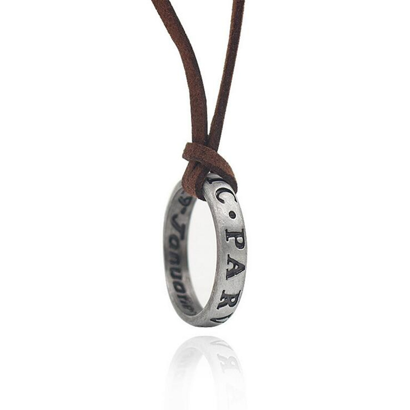 Uncharted 4 Nathan Drake's Vintage Band Cosplay Ring Leather Code Pendant Necklace