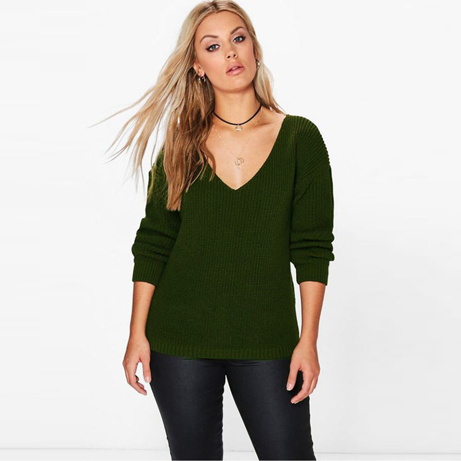 Oversized v Neck Sweater Women Knitted Pullover Plus Size Womens Sweaters Korean Fashion Pull Femme Winter Clothes Women P6C1077